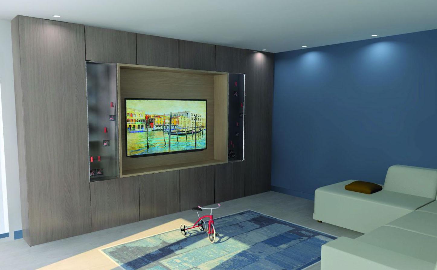 Meuble tv incrusté dans le mur sur mesure