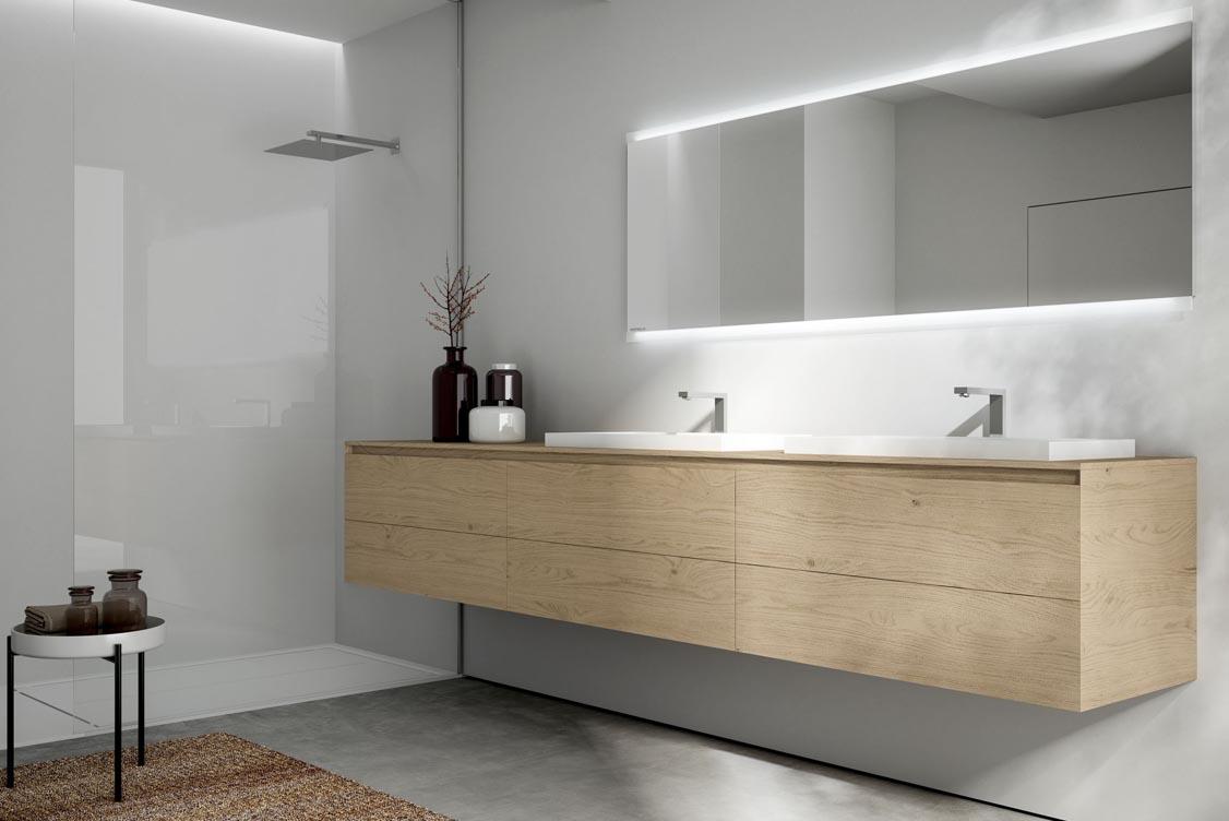 Meuble de salle de bain en bois sur mesure