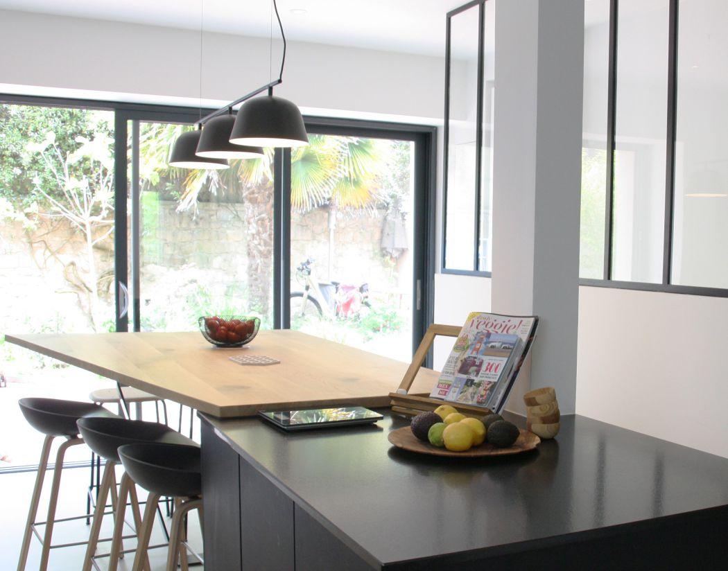 cuisine - luminaires - bois - noir - luminaires - moderne