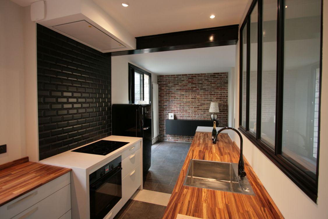 cuisine - verrière - bois - blanc - métro - loft